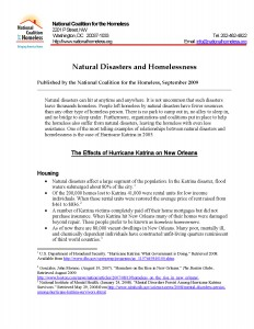 Natural Disasters and Homelessness Fact Sheet 2009